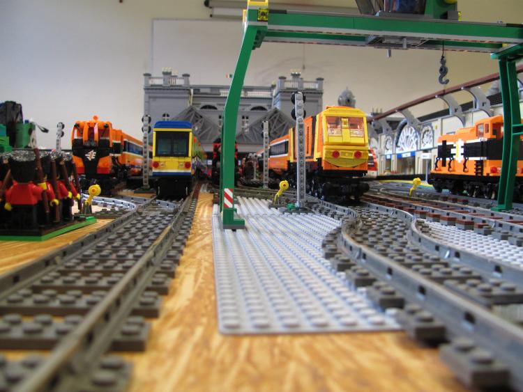 Trains prepare to depart Heuston Station