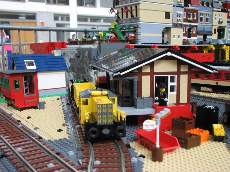 Train shed and LEGO locomotive