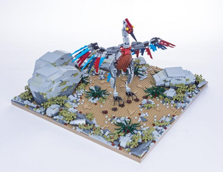 Jurassic Brick Archaeopterix Diorama by janetvand