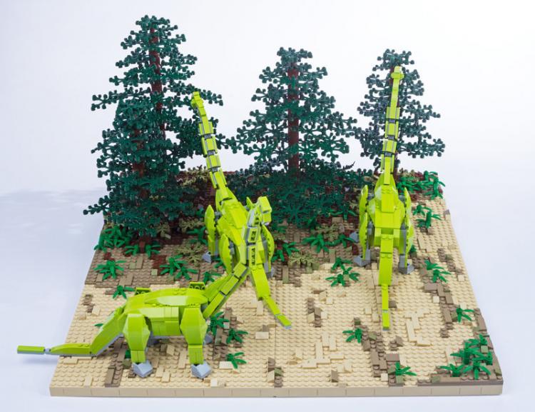 Jurassic Brick Brachiosaurus Diorama by janetvand