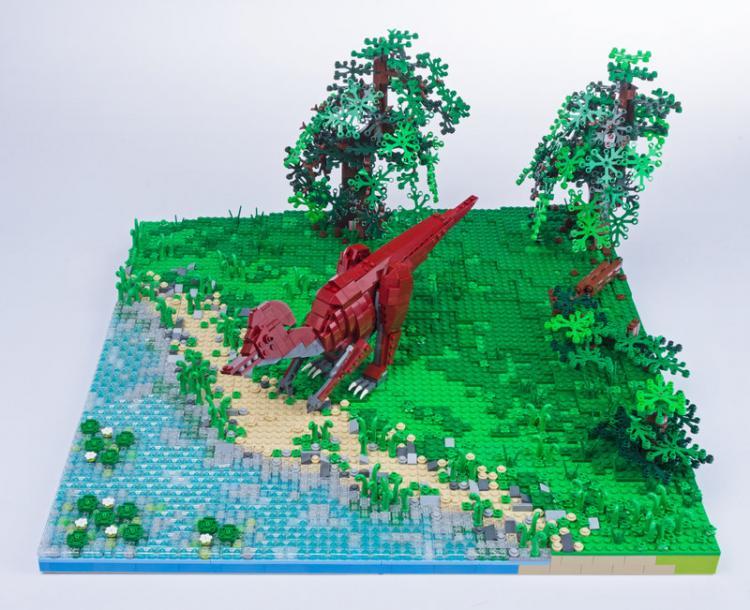 Jurassic Brick Corythosaurus Diorama by janetvand