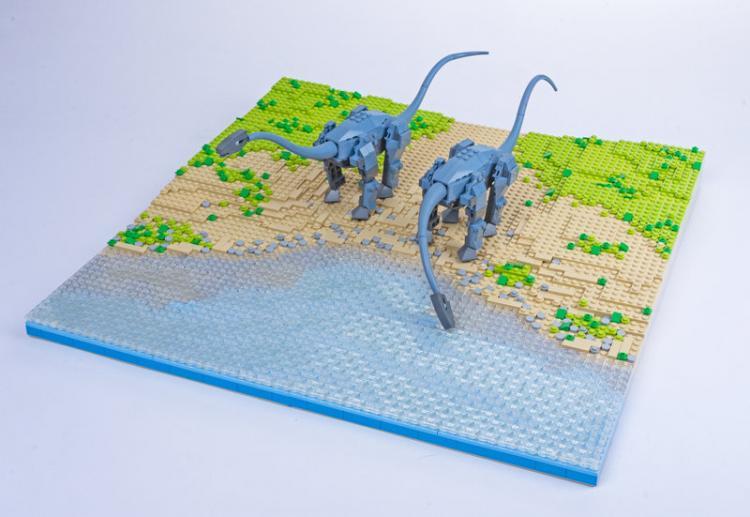 Jurassic Brick Diplodocus Diorama by janetvand