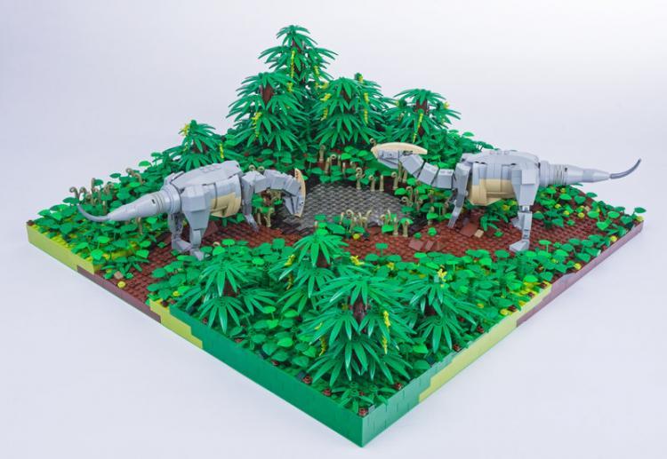 Jurassic Brick Parasaurolphus Diorama by janetvand