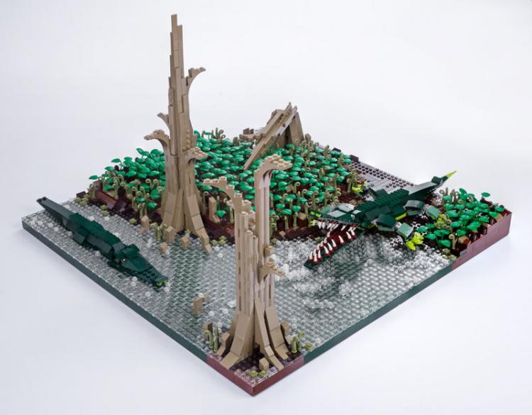 Jurassic Brick Sarcosuchus Diorama by janetvand