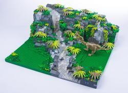 Jurassic Brick Spinosaurus Diorama by janetvand