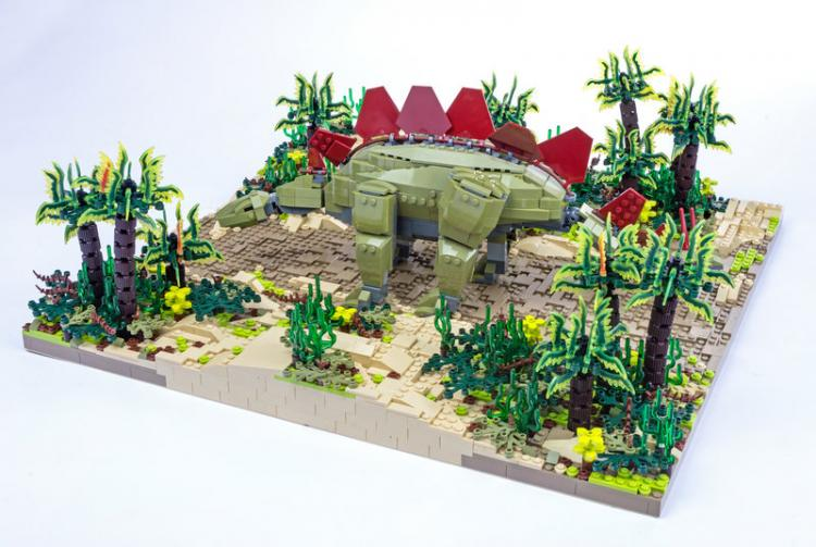 Jurassic Brick Stegosaurus Diorama by janetvand