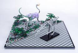 Jurassic Brick Struthiomimus Diorama by janetvand