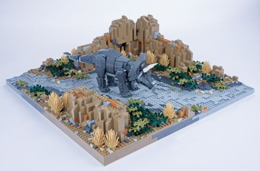 Jurassic Brick Triceratops Diorama by janetvand