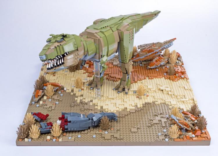Jurassic Brick Tyrannosaurus Diorama by janetvand